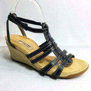 Paul Green Sisal Espadrilles Leather Wedge Sandals